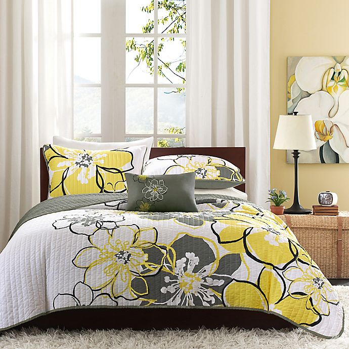Alternate image 1 for Mi zone Allison Reversible Twin/Twin XL Coverlet Set in Yellow/Grey