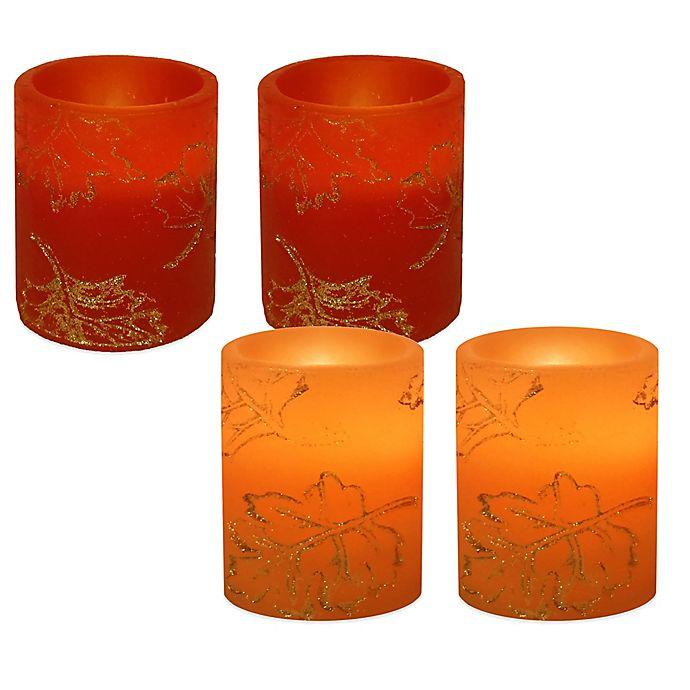 Glitter Leaf Flameless Candles Set Of 2 Bed Bath Amp Beyond