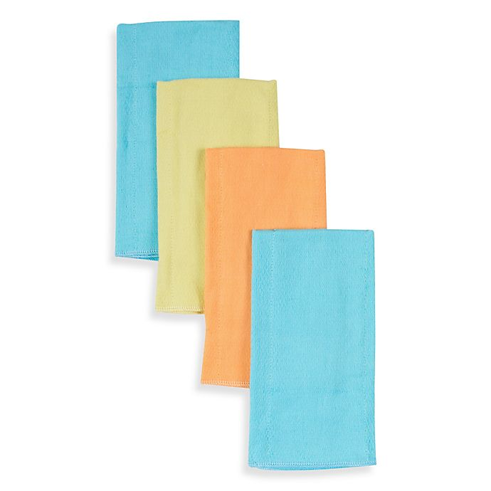 Alternate image 1 for Gerber® 4-Pack Cotton Prefolded Diapers in Aqua/Green/Orange