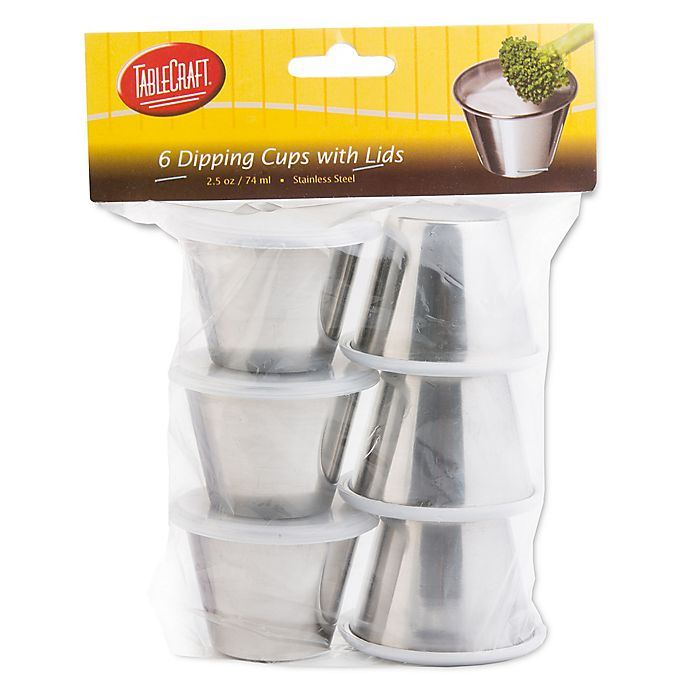 Alternate image 1 for Stainless Steel 6-Pack Dipping Cups with Lids