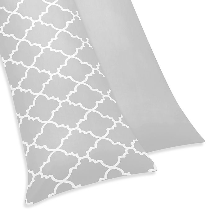 Alternate image 1 for Sweet Jojo Designs Trellis Maternity Body Pillow Case in Grey/White