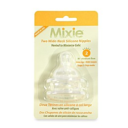 Mixie Baby 2-Pack Stage 2 Silicone Wide-Neck Nipples