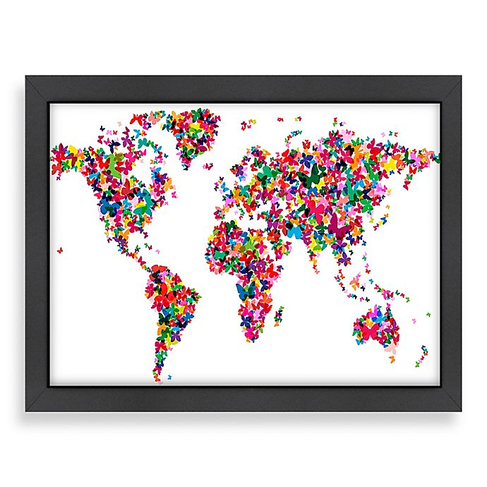 Alternate image 1 for Americanflat Art Pause World Map Butterfly 2 Wall Art