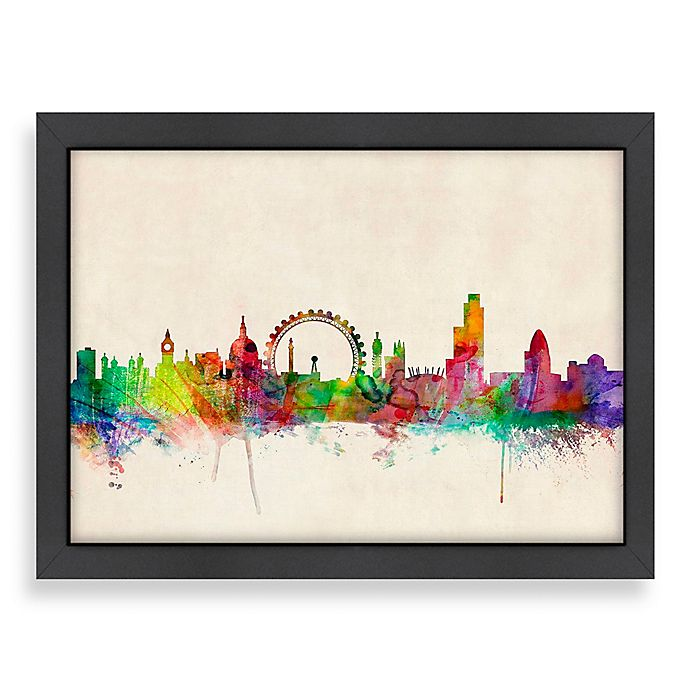 Home Decor Stores London: Americanflat Art Pause London Colored Panoramic Skyline