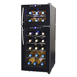 NewAir® Silent Wine Cooler 2-Door 21 Bottle Dual Zone in Black
