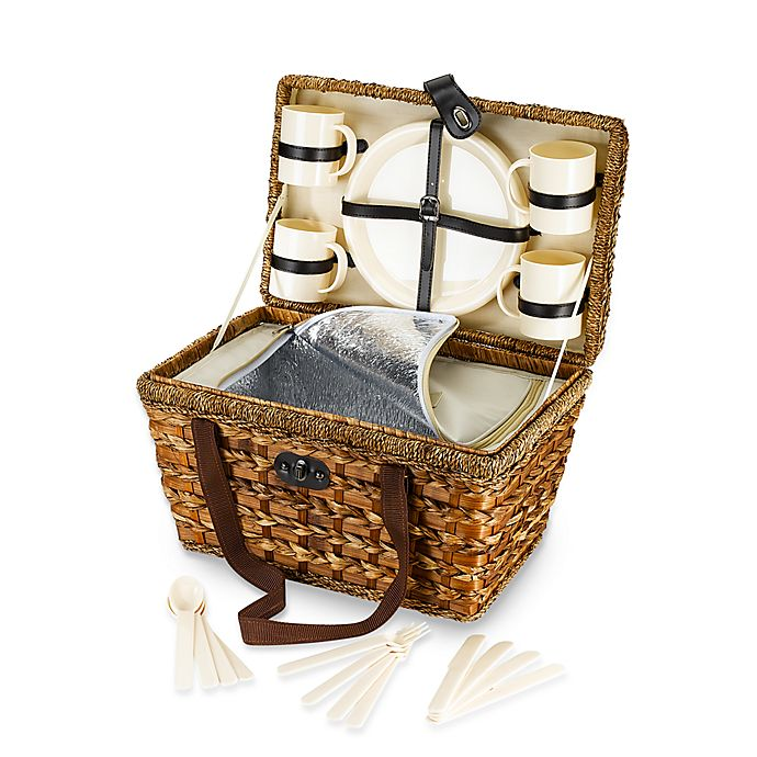 Alternate image 1 for Bamboo 21-Piece Insulated Picnic Basket