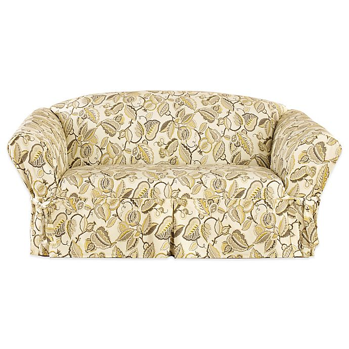 Fabulous Sure Fit Fantasy Fleur By Waverly Loveseat Slipcover In Pumice Theyellowbook Wood Chair Design Ideas Theyellowbookinfo