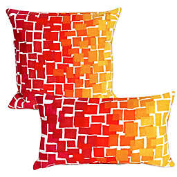 Liora Manne Ombre Tile Outdoor Throw Pillow in Warm Colors
