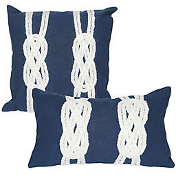 Liora Manne Double Knot Outdoor Throw Pillow in Navy