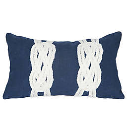 Liora Manne Double Knot 12-Inch x 20-Inch Outdoor Throw Pillow in Navy