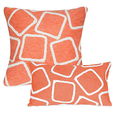 Liora Manne Squares Outdoor Throw Pillow in Coral