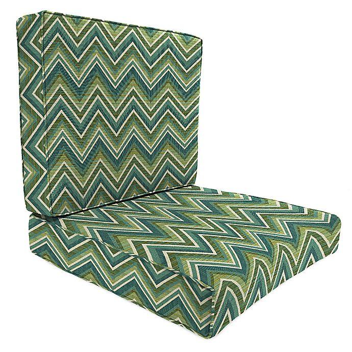Alternate image 1 for Print 45-Inch x 25-Inch 2-Piece Deep Seat Chair Cushion in Sunbrella® Fischer Lagoon