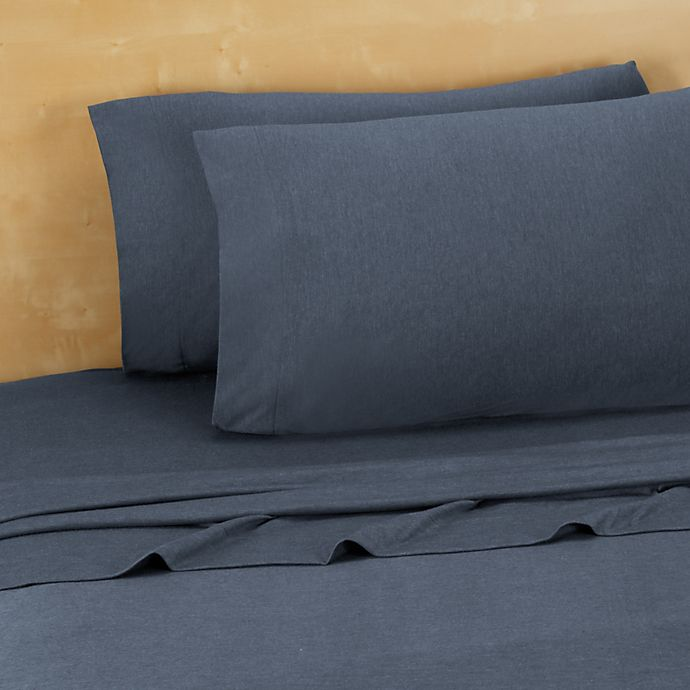 Alternate image 1 for Brooklyn Flat Extra Soft Jersey Full Sheet Set in Denim Blue