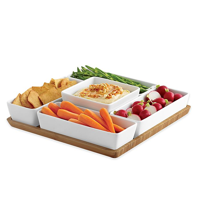 Alternate image 1 for B. Smith® 6-Piece Multi Server with Porcelain Bowls and Bamboo Tray Set