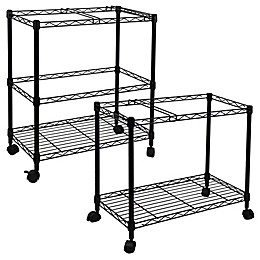 Oceanstar Metal Rolling File Cart in Black