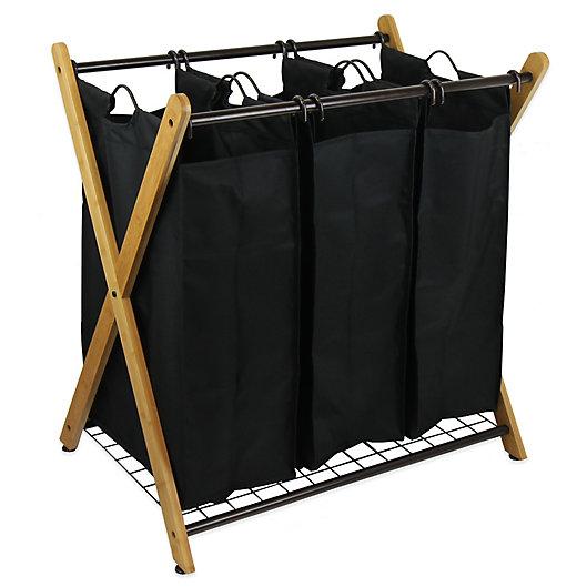Alternate image 1 for Oceanstar X-Frame Bamboo 3-Bag Laundry Sorter