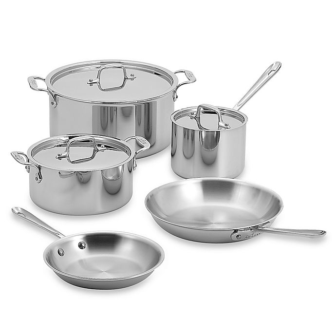 Alternate image 1 for All-Clad Stainless Steel 8-Piece Cookware Set