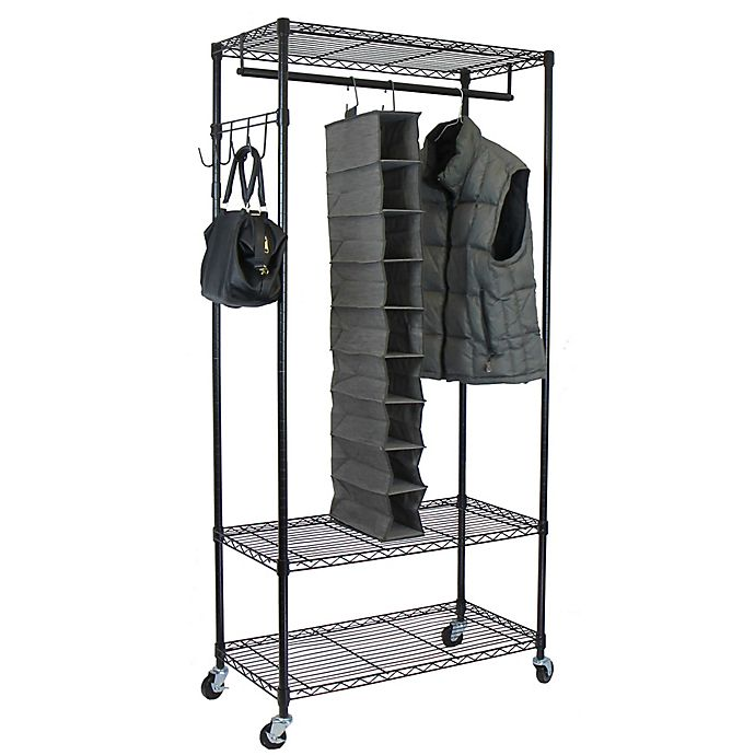 Alternate image 1 for Oceanstar Garment Rack with Adjustable Shelves and Hooks in Black