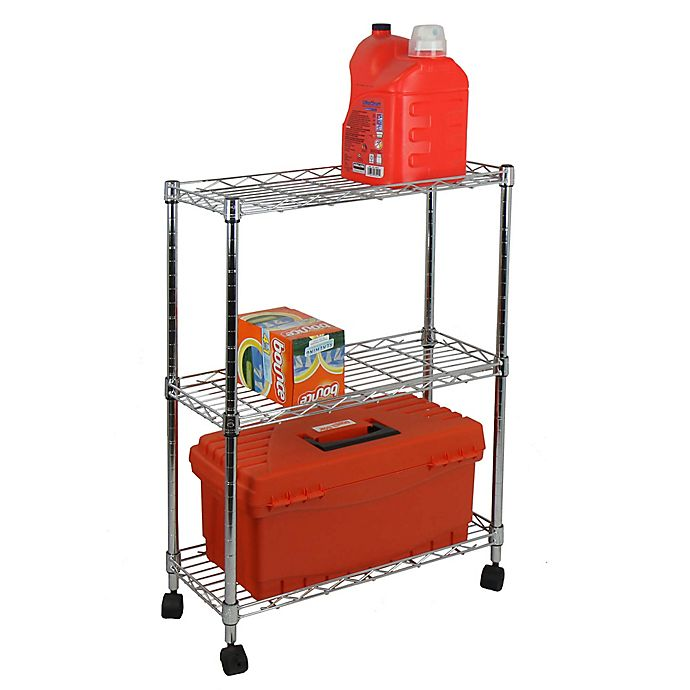 Alternate image 1 for Oceanstar 3-Tier Shelving All-Purpose Utility Cart in Chrome
