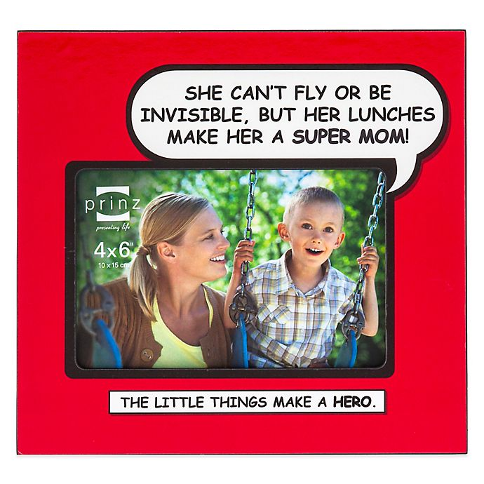 """Alternate image 1 for Prinz Enough Said 4-Inch x 6-Inch """"Super Mom"""" Picture Frame in Red"""