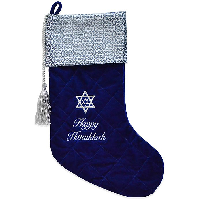 Hanukkah Christmas Stocking.Quilted Velvet Embroidered Hanukkah Stocking With 12