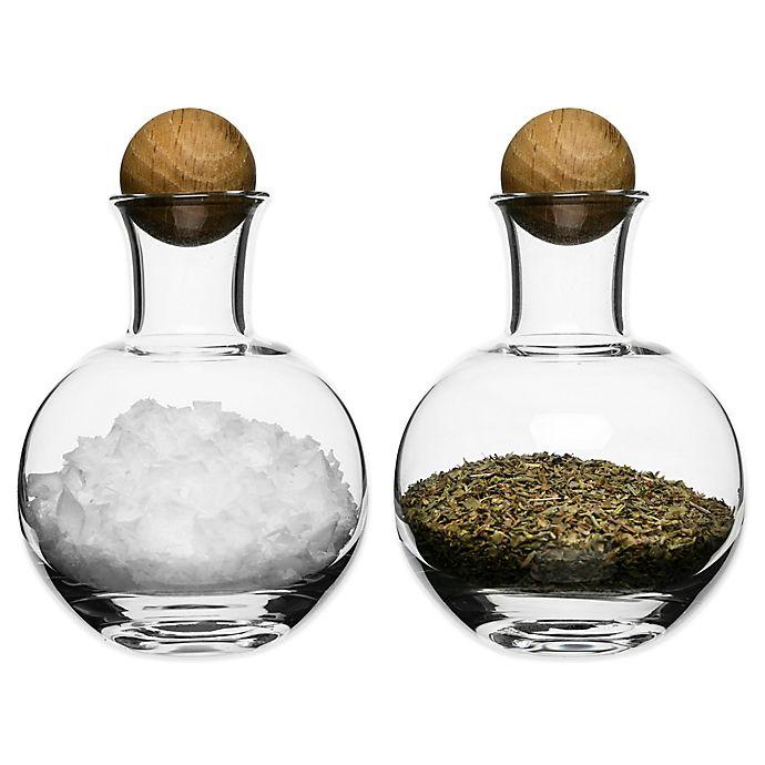 Alternate image 1 for Sagaform® Spice/Herb Bottles with Oak Stoppers (Set of 2)