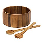 Lipper International Acacia 3-Piece Straight-Sided Serving Bowl with Server Set
