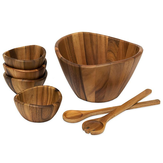 Alternate image 1 for Lipper International Acacia Wood 7-Piece Wave Salad Serving Set
