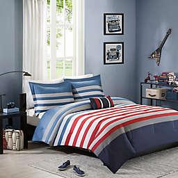 Mizone Kyle Comforter Set in Red/Blue