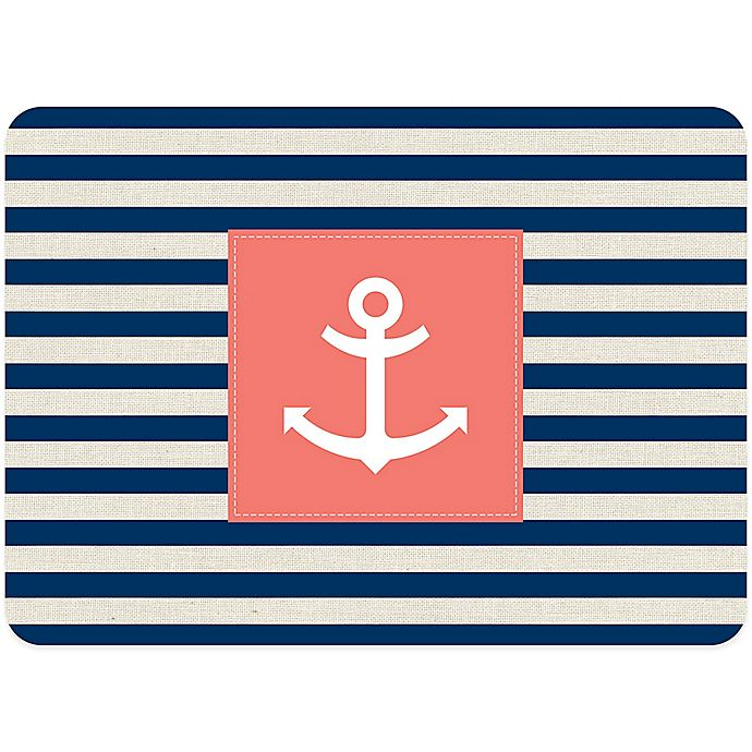 Alternate image 1 for Bungalow Flooring 23-Inch x 36-Inch Anchor Stripe Accent Kitchen Mat