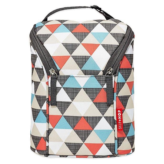 Alternate image 1 for SKIP*HOP® Triangles Grab & Go Double Bottle Bag in Orange/Grey/Blue