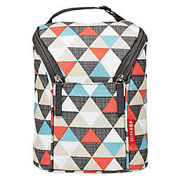 SKIP*HOP® Triangles Grab & Go Double Bottle Bag in Orange/Grey/Blue