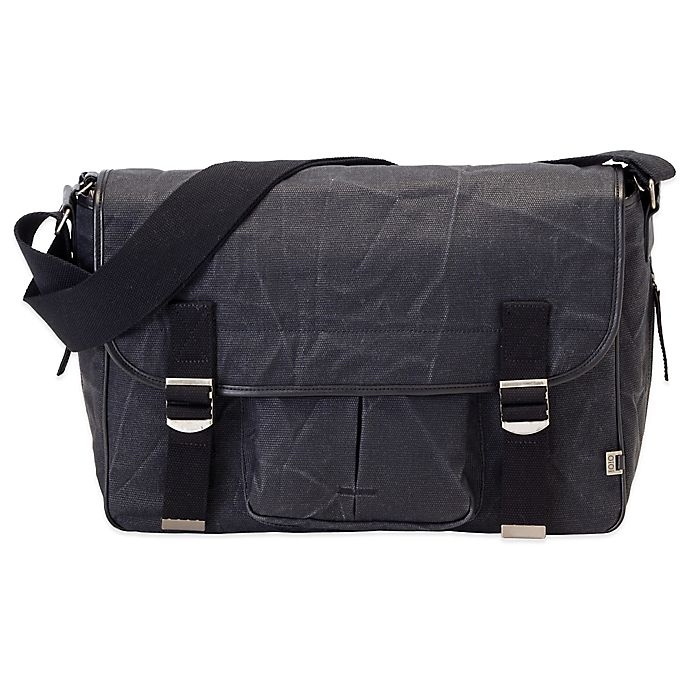 Alternate image 1 for OiOi® Men's Crushed Canvas Satchel Diaper Bag in Black