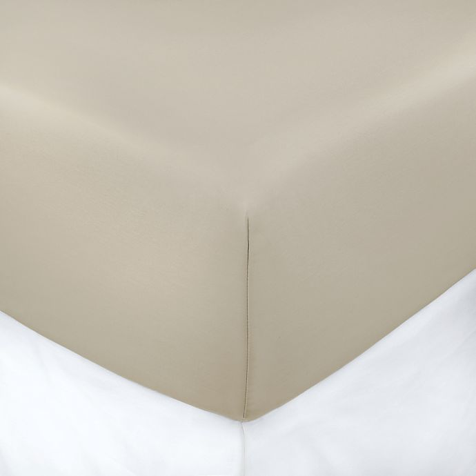 Alternate image 1 for 400-Thread-Count 39-Inch x 75-Inch with 3-Inch Deep-Pocket Cotton Sateen Twin Fitted Sheet in Taupe