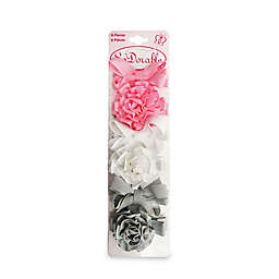 So'Dorable Grosgrain Flower Bow 6-Piece Hair Clips in Pink/White/Grey