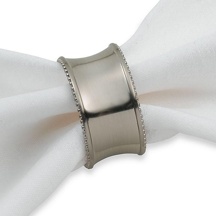 Alternate image 1 for Beaded Elegance Napkin Ring in Brushed Nickel