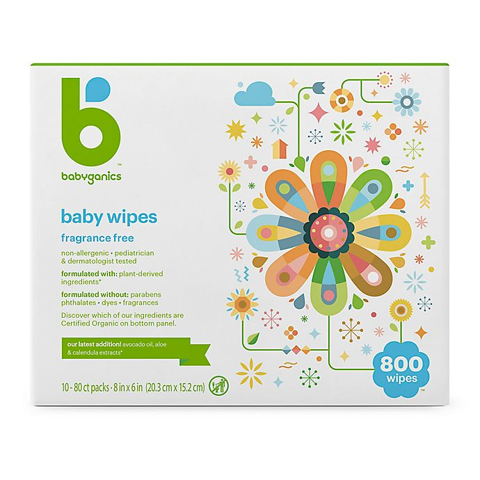 Alternate image 1 for Babyganics® Fragrance-Free 800-Count Face, Hand, and Baby Wipes