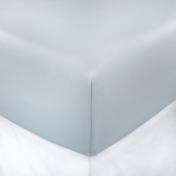 Alternate image 1 for 400-Thread-Count Solid 8-Inch Deep Pocket Full Fitted Sheet in Light Blue
