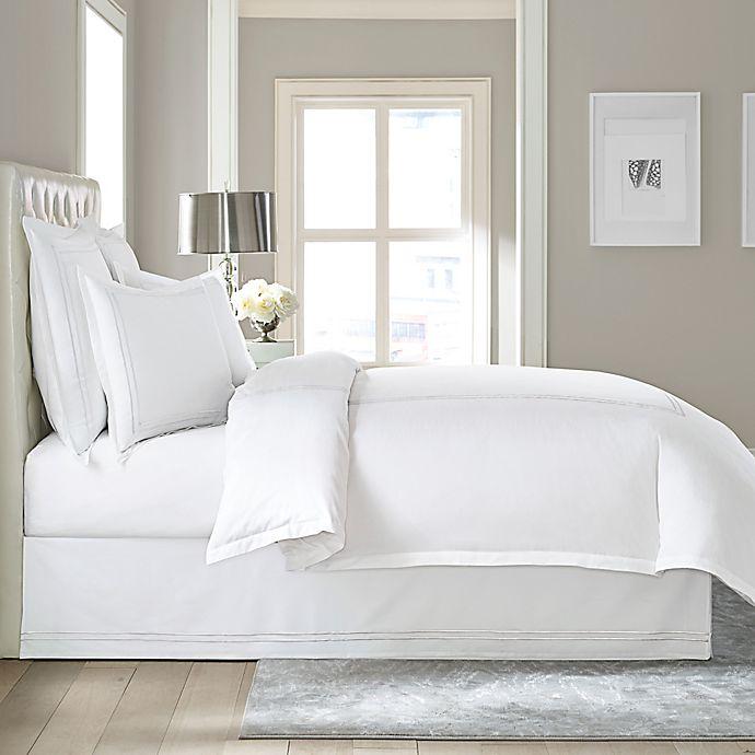 Alternate image 1 for Wamsutta® Baratta Stitch Cotton 15-Inch Drop King Bed Skirt in White