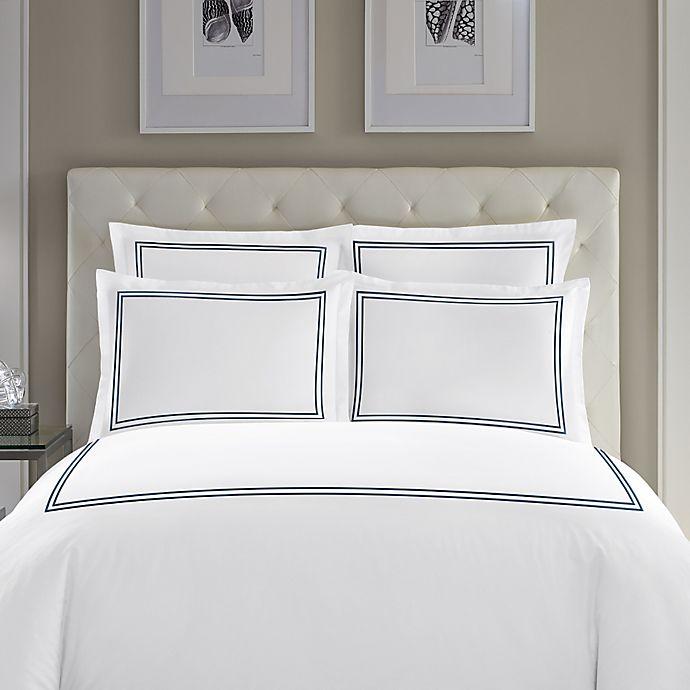 Alternate image 1 for Wamsutta® Baratta Stitch Cotton Standard Pillow Sham in Navy