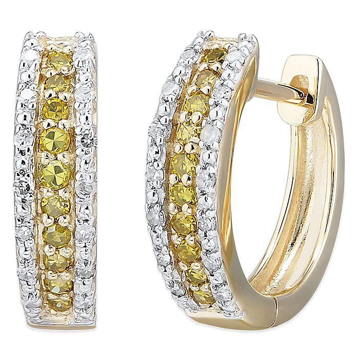 10k White Gold 25 Cttw And Yellow Diamond Elongated