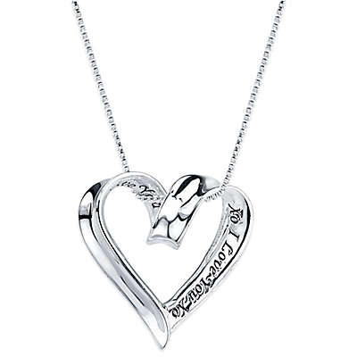 "Shine Sterling Silver ""XO I Love You XO"" Pendant Necklace"