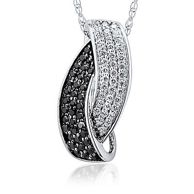 10K White Gold .32 cttw Black and White Diamond 18-Inch Chain Interlocking Pendant Necklace