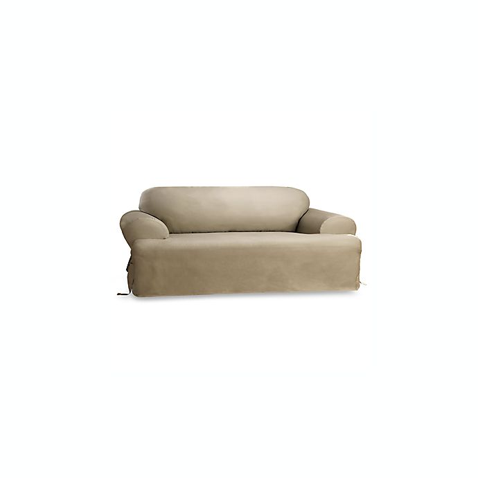 Alternate image 1 for Duck Linen T-Cushion Sofa Slipcover by Sure Fit®