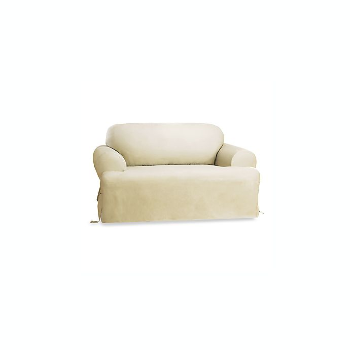 Amazing Sure Fit Duck T Cushion Loveseat Slipcover In Natural Bed Uwap Interior Chair Design Uwaporg