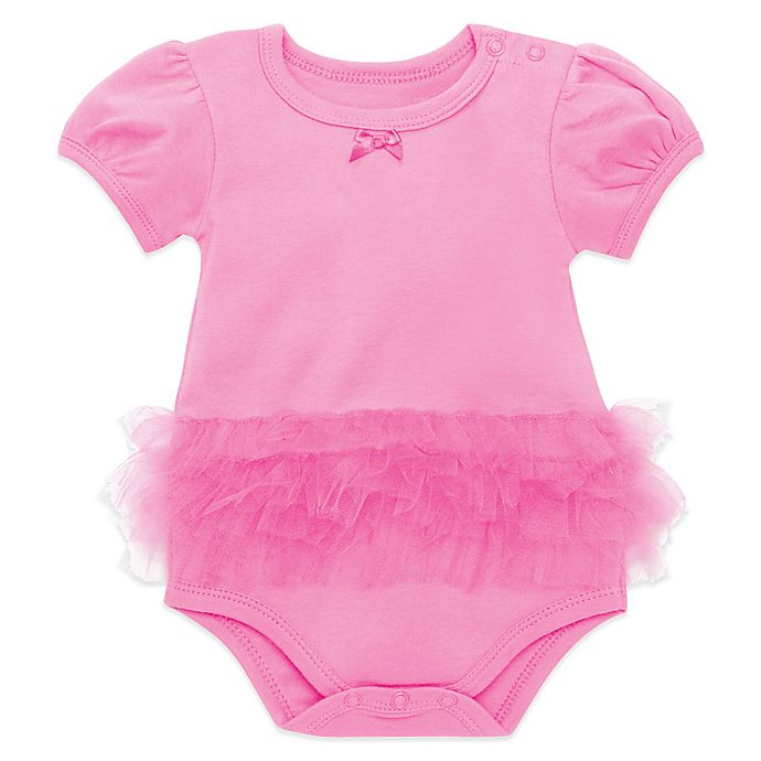 Alternate image 1 for Elegant Baby® Size 6-9M My First Tutu Bodysuit in Raspberry