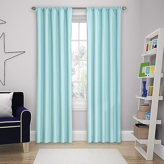 Alternate image 1 for Solar Shield Microfiber Rod Pocket 63-Inch Room Darkening Window Curtain Panel in Blue