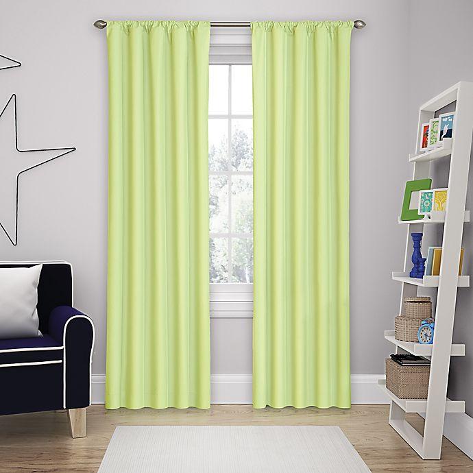 Alternate image 1 for Solar Shield Microfiber Rod Pocket 63-Inch Room Darkening Window Curtain Panel in Green
