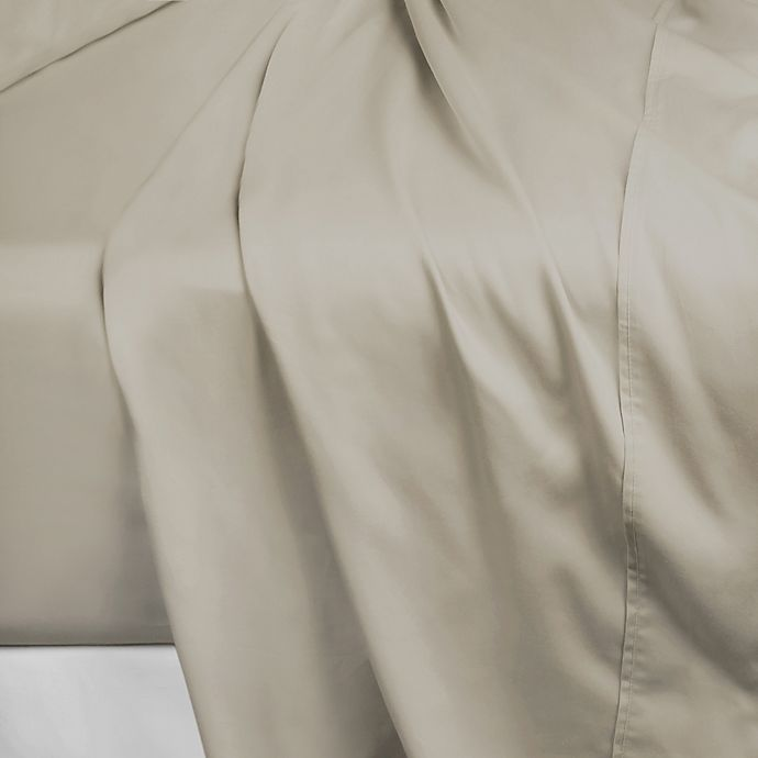 Alternate image 1 for 600-Thread-Count 112-Inch x 106-Inch Cotton Sateen King Flat Sheet in Taupe