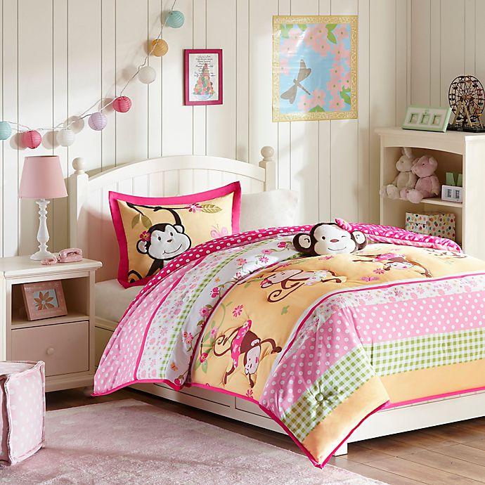 Alternate image 1 for Mizone Kids Monkey Business 3-Piece Twin Comforter Set in Pink